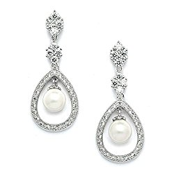 Mariell Vintage Wedding Cubic Zirconia and Cream Pearl Dangle Bridal Earrings – Art Deco Platinum Styling