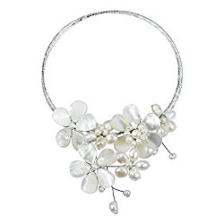Multi Flower Mother of Pearl Shell-Cultured FW Pearls-Glass Beads On Base Memory Choker Necklace