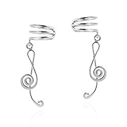 My Melody Treble Clef Music Note Sterling Silver Ear Cuff Earrings