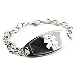 MyIDDr Custom Engraved Womens Medical Alert Bracelet, Steel O-Link Chain, Medium 6mm