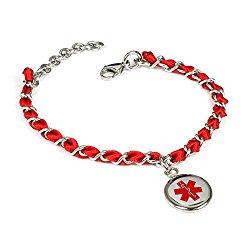 MyIDDr Custom Medical Alert Bracelet with Free Engraving – Silk Woven Steel