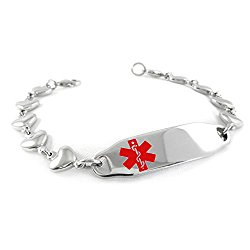Myiddr Pre Engraved Customized Women S Dnr Medical Alert Id Bracelet Heart Chain