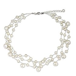 NOVICA White Cultured Freshwater Pearl Multi-Strand Choker, 15.5″ with 2″ Extender, 'Moonlight Glow'