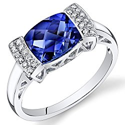 Peora 14K White Gold Cushion Created Blue Sapphire Diamond Ring (2.61 cttw)