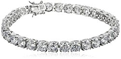 Platinum Plated Sterling Silver Round Cut 6mm Cubic Zirconia Tennis Bracelet, 8″