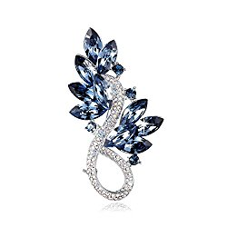 PLATO H Leaf Brooch Necklace with Crystals from Swarovski Mother's Day Gift for Her, Ocean Blue, Mom Ideal Gifts
