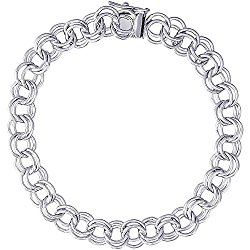 Rembrandt Charms, Handmade Double Link Charm Bracelet, Solid Sterling Silver or Gold, 7-8″