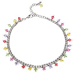 Rhodium or Gold-Plated Brass Colored Faceted Swarovski Crystal and Cubic Zirconia CZ Anklet