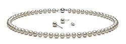 {Set} HinsonGayle AAA Handpicked White Freshwater Cultured Pearls & Stud Earrings Silver 18″