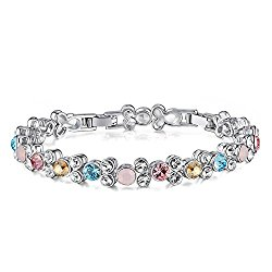 SILYHEART Tennis Bracelet Made with Swarovski Crystal, Fashion Jewelry Gift for Girls