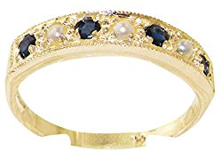 Solid 10k .417 Yellow Gold Cultured Pearl and Sapphire Womens Band Ring – Sizes 4 to 12 Available