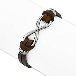 Stainless Steel and Leather Infinity Sign Double Strand Wrap Bracelet