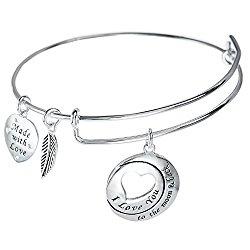 Sterling Silver I Love You To The Moon & Back Heart Leaf Charm Adjustable Wire Bangle Bracelet