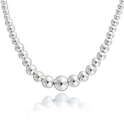 Sterling Silver Lightweight Graduated 5-9mm Beads Necklace 17″, ITALY made