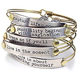 Sweet Romance Inspirational Message Stack Bangle Bracelet Series in 12 Motivational Quotes