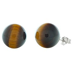 Trustmark 14K White Gold 12mm Natural Brown Tigers Eye Ball Stud Post Earrings