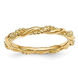 Yellow Gold Plated Sterling Silver Stackable Expressions Twist Ring Band
