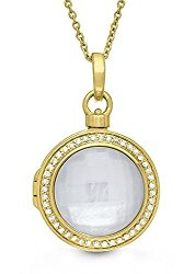 14K Gold Diamond/Mother of Pearl Round Locket Necklace, 18-inch chain, The Michael by With You Lockets
