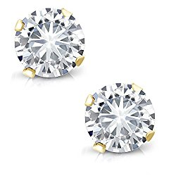 Charles & Colvard 4mm VG Moissanite 0.50 cttw 14k Yellow Gold Friction Back Round 4 Prong Stud Earrings (0.44 cttw Moissanite, White Color, SI2-100% Eye Clean)
