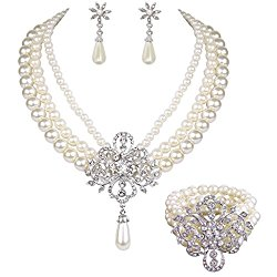 EleQueen Women's Silver-tone Simulated Pearl Crystal Victorian Style Flower Bridal Necklace Earrings Bracelet Set Ivory Color