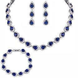 EVER FAITH Silver-Tone CZ Birthstone Elegant Tear Drop Necklace Earrings Bracelet Set