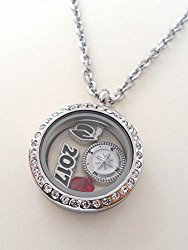 Graduate Gift Locket Necklace with Birthstone – Good Luck on the Path Ahead of You