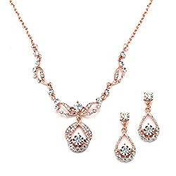 Mariell Rose Gold Vintage Crystal Necklace and Earrings Set – Retro Glamour for Bridal and Bridesmaids