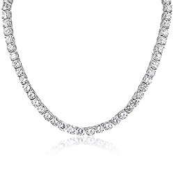 Mytys Silver Tone Cubic Zirconia Finish Solitaire Tennis Choker Necklace for Bride with Gift Box