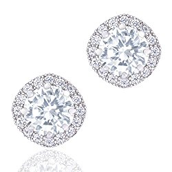 ORROUS and CO Legacy Collection 18K White Gold Plated Cubic Zirconia Cushion Shape Halo Stud Earrings, 1.90 carats
