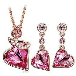 """Qianse """"ROSE LOVER"""" Rose Gold Sweet Necklace Earring Sets made with SWAROVSKI Crystal, valentines gifts, gifts for her, gifts for mom, fashion jewelry set"""