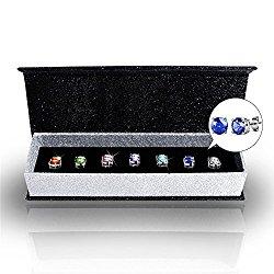 R-timer Womens Swarovski Elements Crystal Stud Earrings Set of 7 Pairs 18K White Gold Plated Earrings