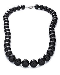10mm Polished Black Onyx Necklace, 925 Sterling Silver Clasp