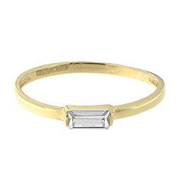 14k Yellow Gold Emerald Cut Cubic Zirconia Solitaire Ring