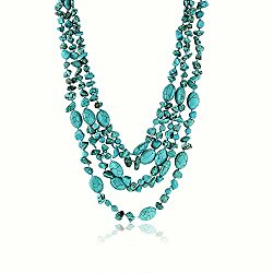 20 Inch Stunning 3 Strands Simulated Green Turquoise Necklace with Toggle Clasp