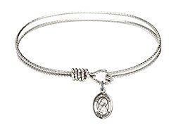 7 1/4 inch Oval Eye Hook Bangle Bracelet w/ St. Monica medal charm