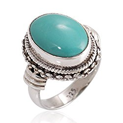 925 Sterling Silver Blue Turquoise Gemstone Oval Rope Braided Edge Vintage Band Ring Size 6, 7, 8