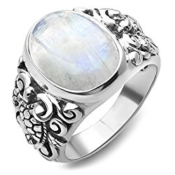 925 Sterling Silver Natural Moonstone Gemstone Filigree Sea Turtle Band Ring Size 6, 7, 8