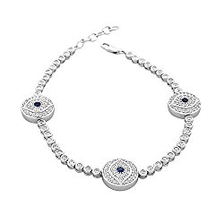 925 Sterling Silver White Blue Bezel-Set CZ Hamsa Evil Eye Womens Link Chain Bracelet