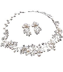 Beautiful Handmade Freshwater White Pearl Bridal Necklace Set W Vine Flowers