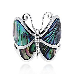 Big Green Abalone Shell Butterfly .925 Sterling Silver Ring