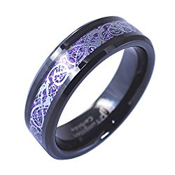Black Tungsten Silver Tone Viking Dragon Celtic Knot Ring Purple Carbon Fiber 6MM Band Size 5-10
