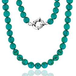Bling Jewelry 925 Sterling Silver 10mm Reconstituted Turquoise Bead Long Necklace 36in