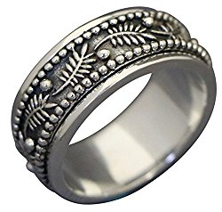 "Energy Stone ""PALM LEAF"" Meditation Spinning Ring in Sterling Silver Designed by Viola So (Style# US42)"