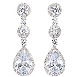 EVER FAITH 925 Sterling Silver Prong Cubic Zirconia Tear Drop Bride Engagement Dangle Earrings Clear