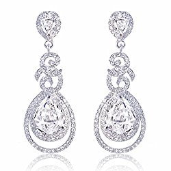 EVER FAITH Flawless Zircon Birthstone Dual Leaves Rings Teardrop Wedding Dangle Earrings Silver-Tone