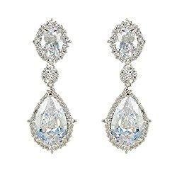 EVER FAITH® Silver-Tone Full Cubic Zirconia Flower Tear Drop Pierced Dangle Earrings