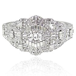 EVER FAITH The Great Gatsby Inspired Art Deco Bracelet Clear Austrian Crystal