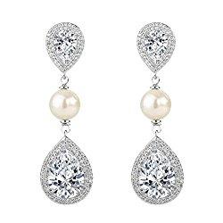 EVER FAITH Women's CZ Ivory Color Simulated Pearl Tear Drop Dangle Earrings Clear Silver-Tone