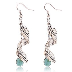 Ginasy Bohemia Spiral Drop Earrings Teardrop Imitation Turquoise Plated Alloy Dangle Earrings, Mother's Day Jewelry Gift