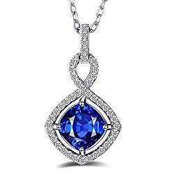 "GuqiGuli Gorgeous ""Infinity Love"" Cushion Cut Created Blue Sapphire Sterling Silver Pendant Necklace, 18″"